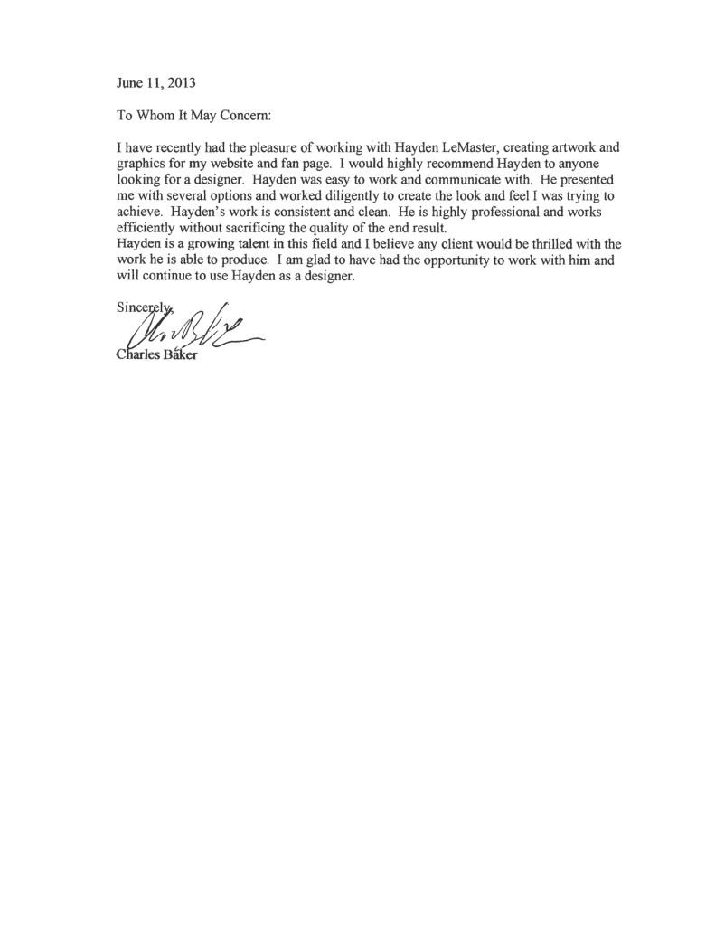 Custom Letter Of Recommendation