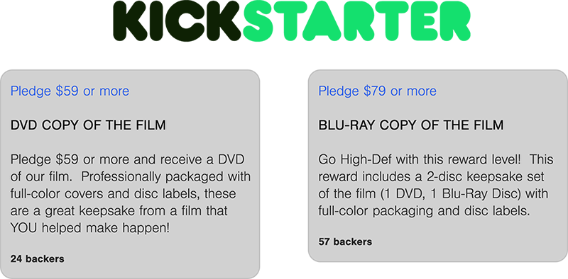 Kickstarter DVD Blu-Ray Bulk Wholesale Production